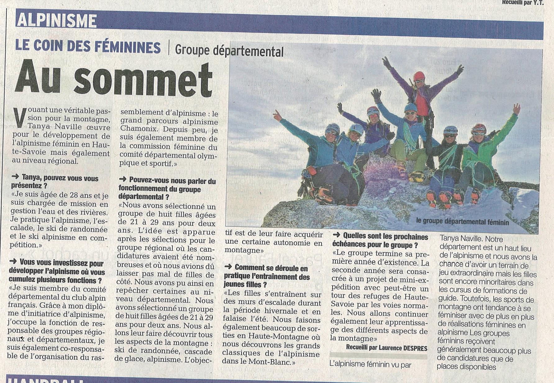 article dauphiné libéré groupe alpinisme féminin Haute-savoie montagne sport femme CAF
