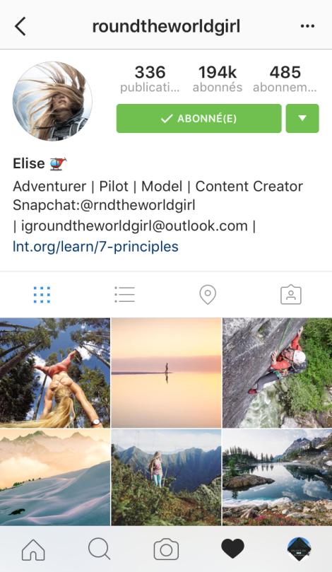 Top10 compte profil instagram filles sport feminin outdoor montagne aventure aventuriere pasquedescollants
